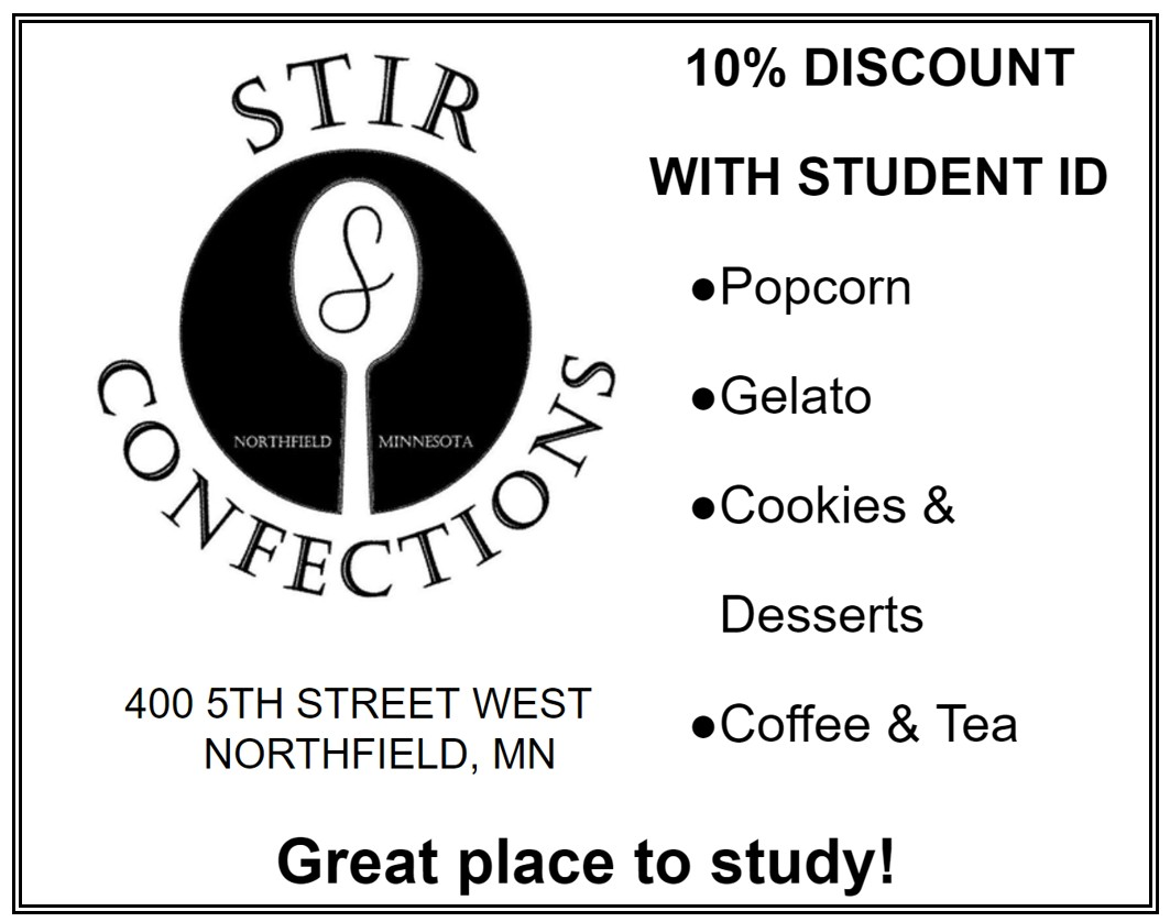 An ad for Stir Confections with the tagline 'A great place to study!' They offer a 10% discount with a student ID.